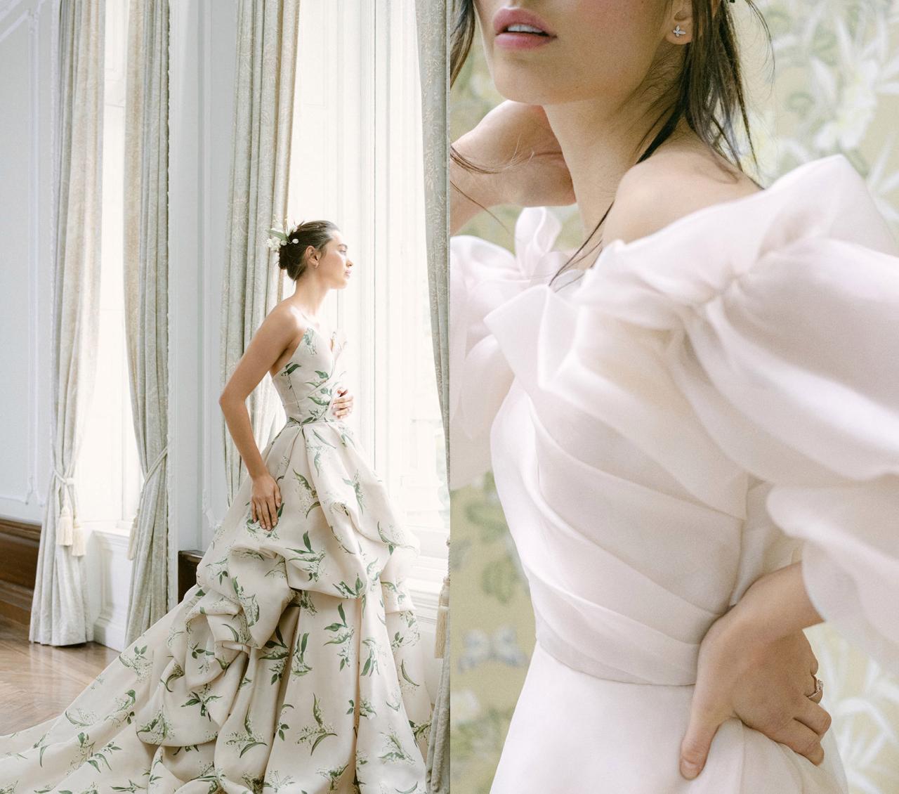 4 tendencias para novia explicadas con los vestidos de Monique Lhuillier 2021